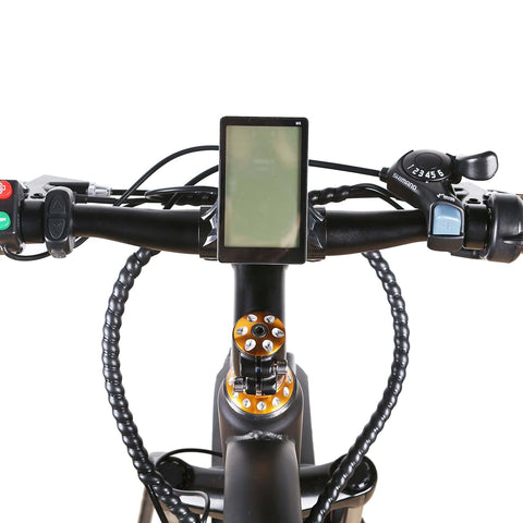 NAKTO 500W Fat Tire Super Cruise Electric Bike screen and handle bars view