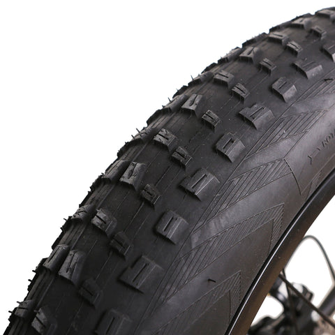Image of NAKTO 500W Fat Tire Super Cruise Electric Bike tire treads close up