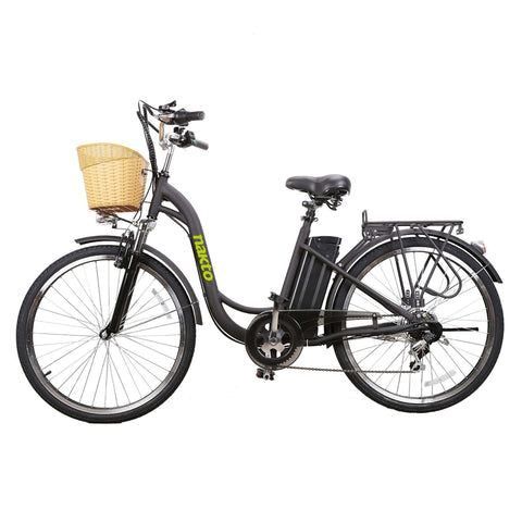 Image of NAKTO City Camel Electric Bicycle (Women) black side view