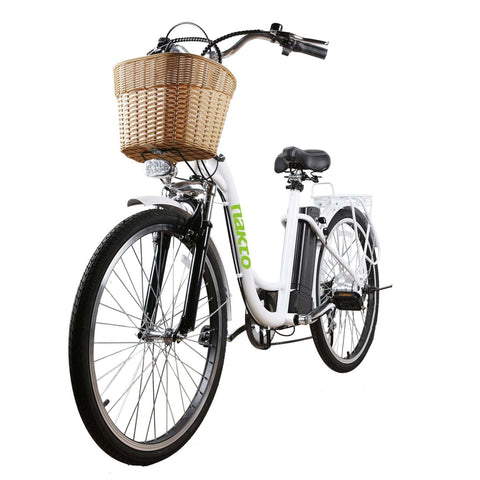 Image of NAKTO City Camel Electric Bicycle (Women) white front angle view