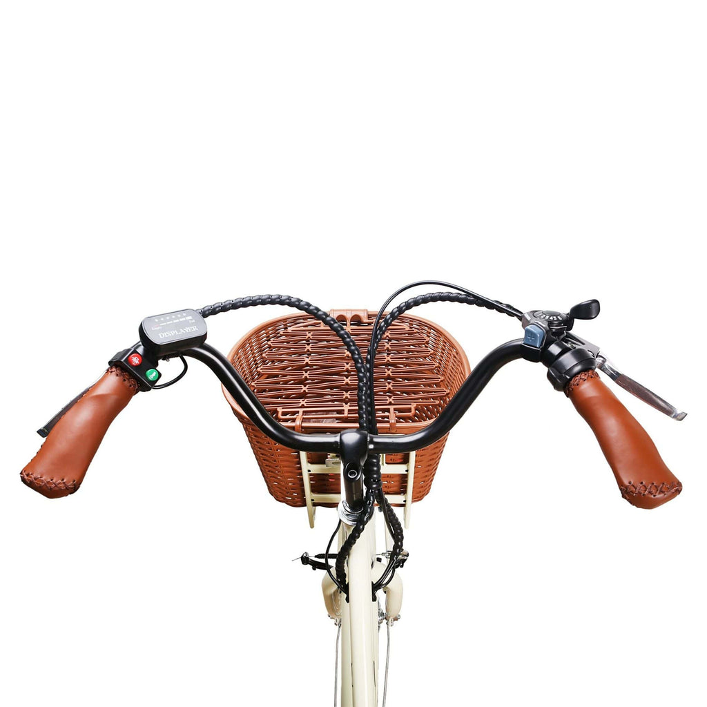 NAKTO Classic City Electric Bicycle handle bars and basket