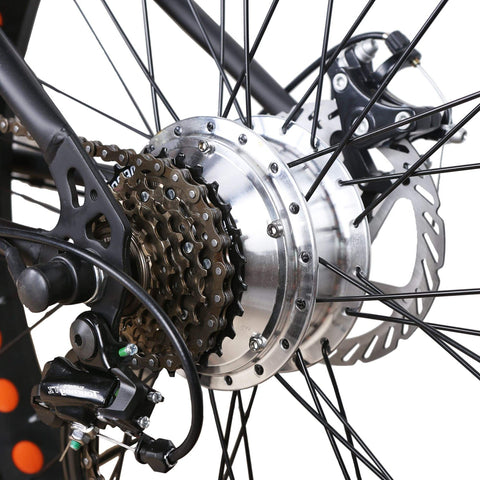 Image of NAKTO Cruiser Fat Tire Electric Bicycle gears and chain close up