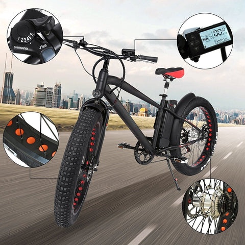 Image of NAKTO Cruiser Fat Tire Electric Bicycle bubble gram of specs