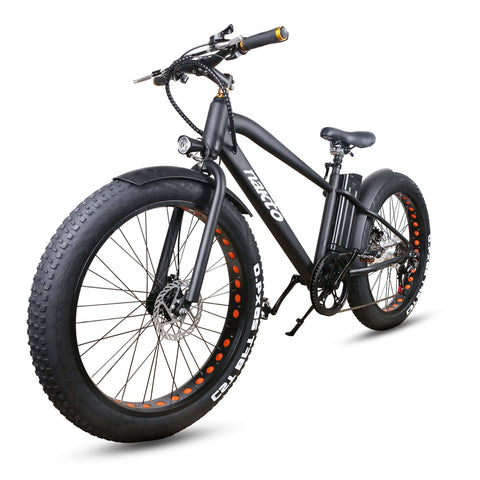 Image of NAKTO Cruiser Fat Tire Electric Bicycle front angled view