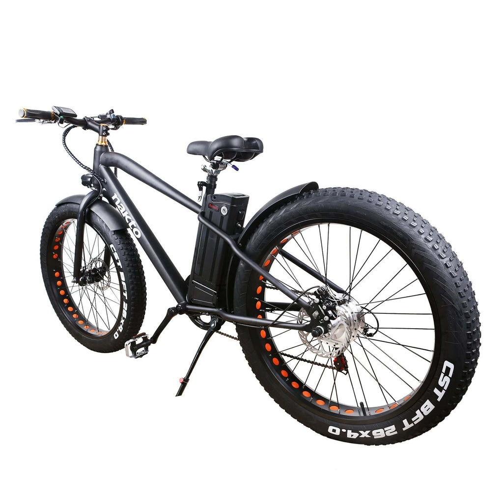 NAKTO Cruiser Fat Tire Electric Bicycle rear angled view