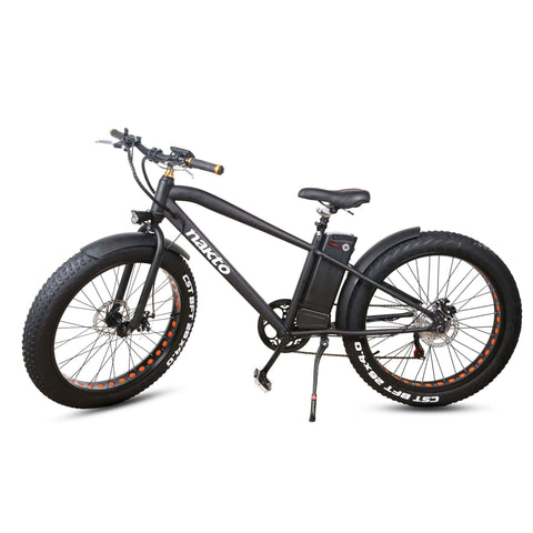 Image of NAKTO Cruiser Fat Tire Electric Bicycle side angle view stand