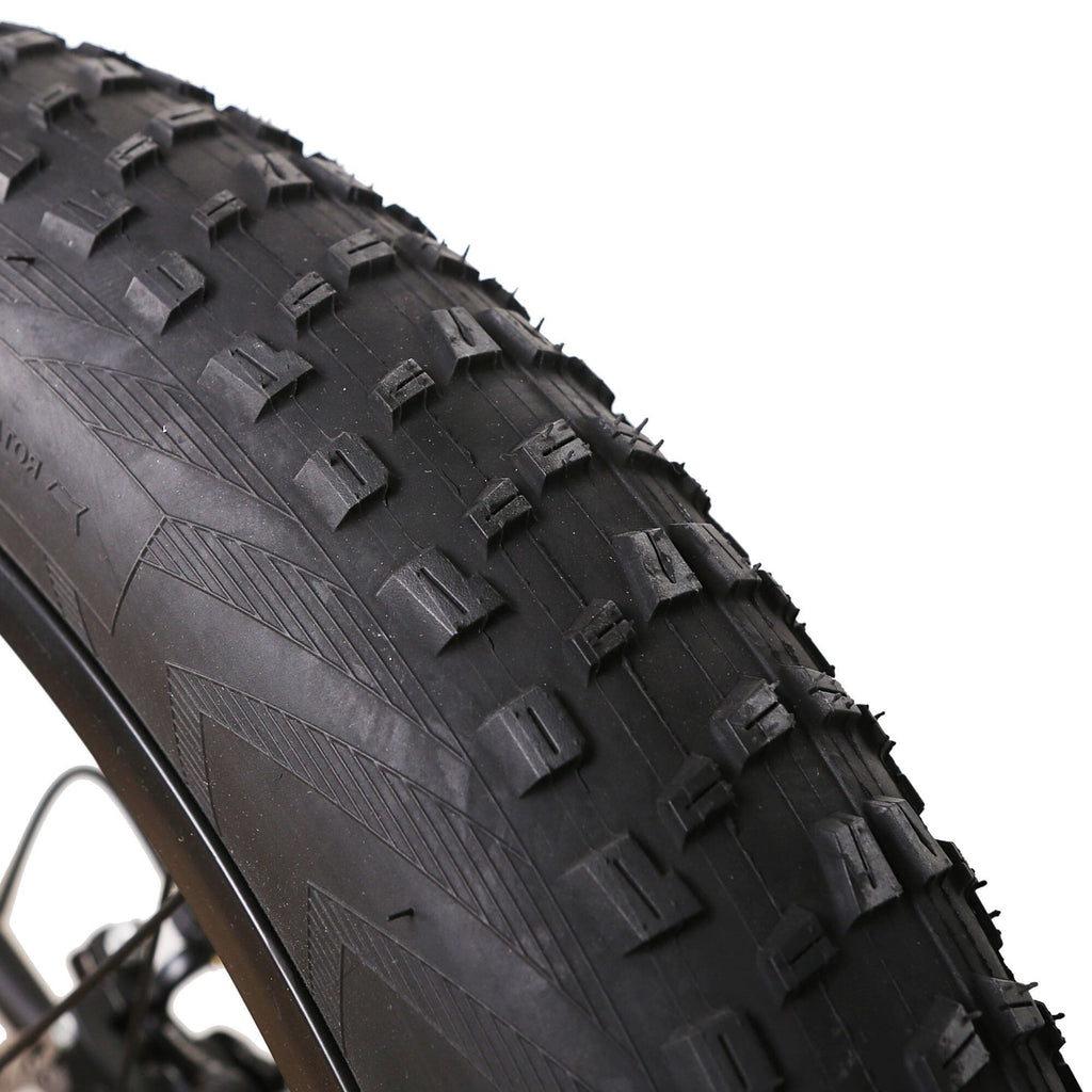 NAKTO Cruiser Fat Tire Electric Bicycle tire treads close up