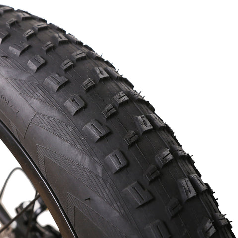 Image of NAKTO Cruiser Fat Tire Electric Bicycle tire treads close up