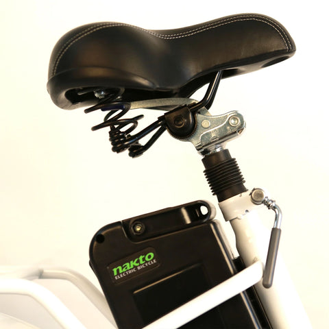 Image of NAKTO Elegance City Electrical Bicycle battery and seat side view