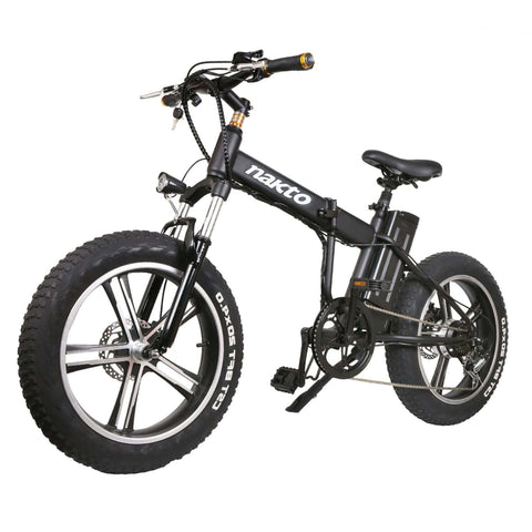 Image of NAKTO Mini Cruiser Folding Electric Bike front angled view