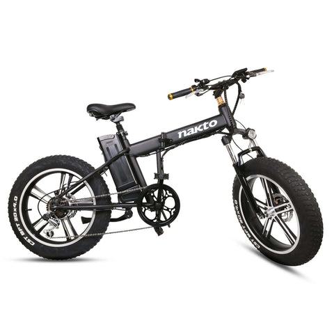 Image of NAKTO Mini Cruiser Folding Electric Bike side view tire tilted