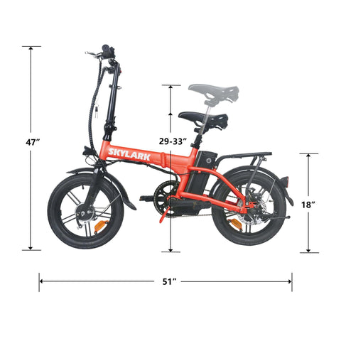 Image of NAKTO Skylark Folding Electric Bicycle standing specs