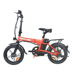 NAKTO Skylark Folding Electric Bicycle red side view