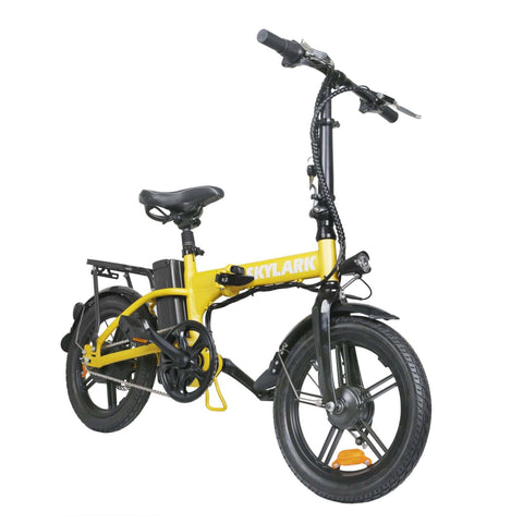 NAKTO Skylark Folding Electric Bicycle yellow front view