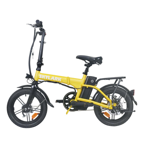 NAKTO Skylark Folding Electric Bicycle yellow side view