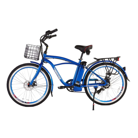 Image of Newport Elite Max 36 Volt Electric Bike Blue Side View