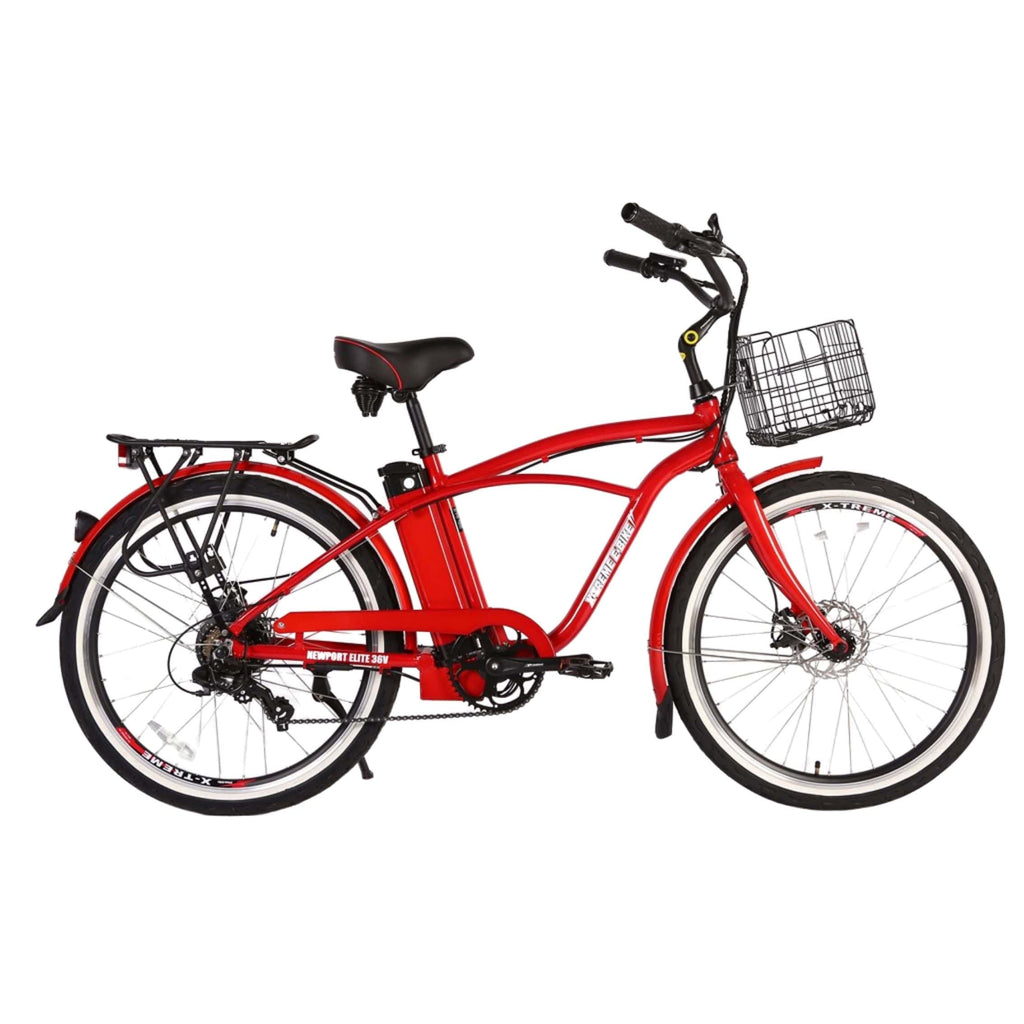Newport Elite Max 36 Volt Electric Bike Red Side View