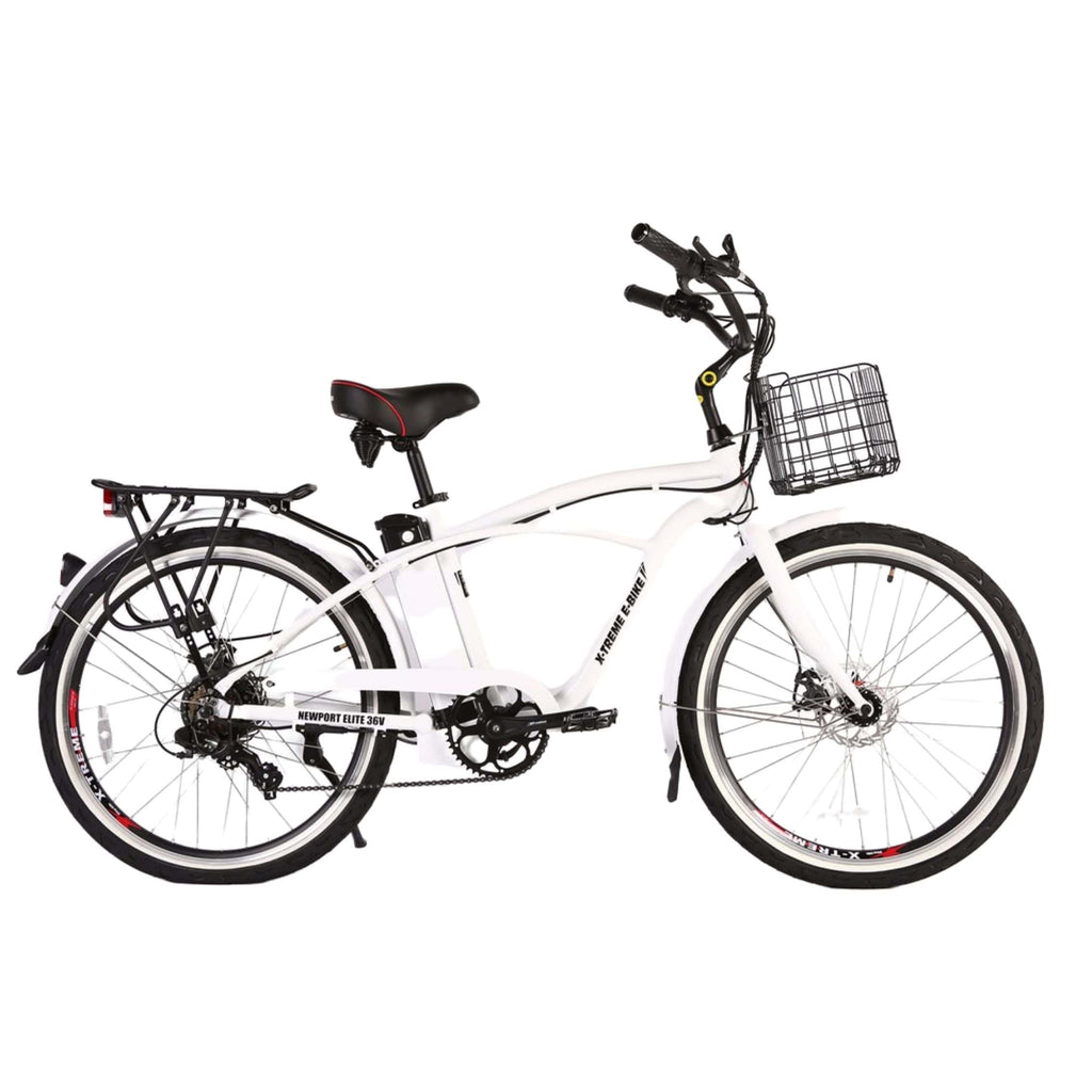 Newport Elite Max 36 Volt Electric Bike White Side View