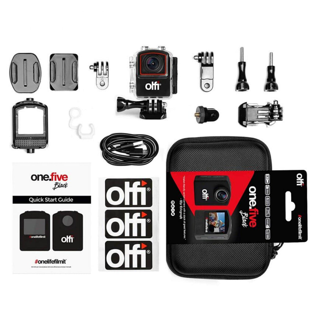 OLFI One.Five Black 4K Action Camera Case Contents