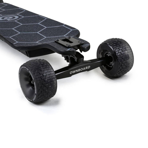 Ownboard Bamboo AT Electric Skateboard cloud wheels close up