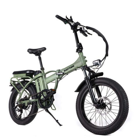 Image of Rattan LM 500W Electric Bike Green Side View
