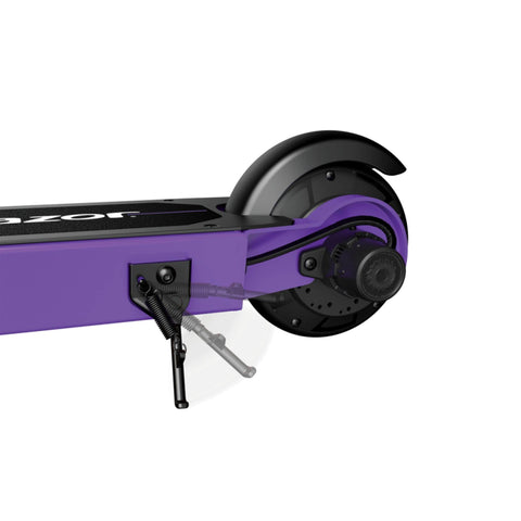 Image of Razor Black Label E100 Electric Scooter Back Wheel Side Angle Purple