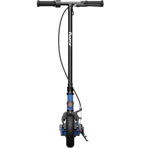 Image of Razor Black Label E100 Electric Scooter Front Angle Blue
