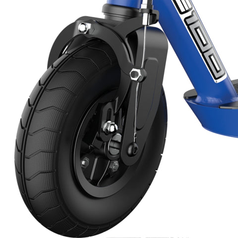 Image of Razor Black Label E100 Electric Scooter Blue Wheel Side Angle