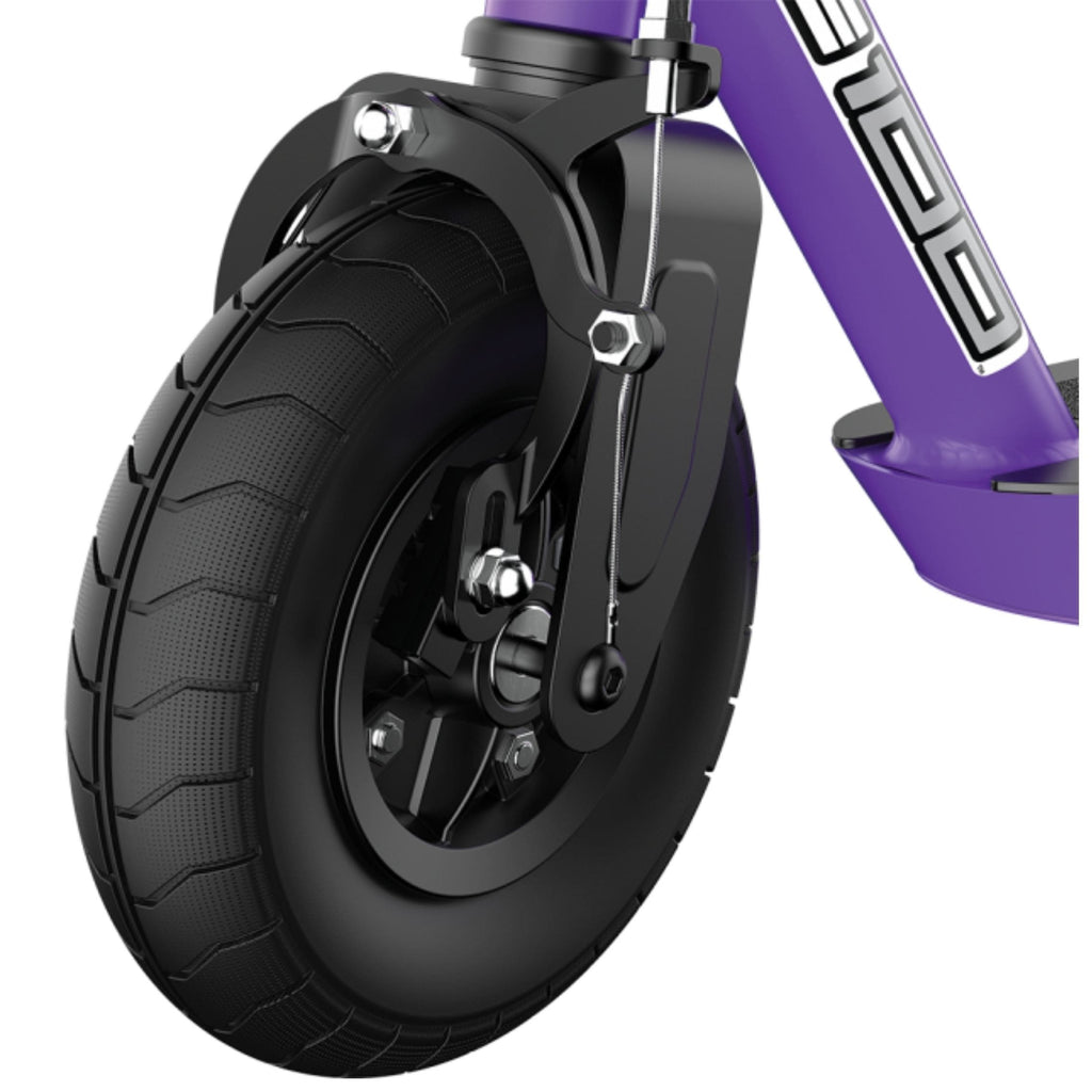 Razor Black Label E100 Electric Scooter Wheel Side Angle Purple