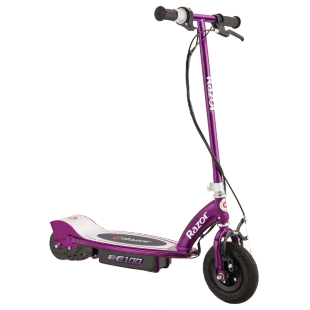 Razor E100 Electric Scooter purple side view