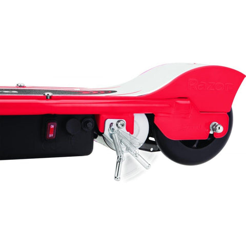 Razor E100 Electric Scooter red rear wheel angle