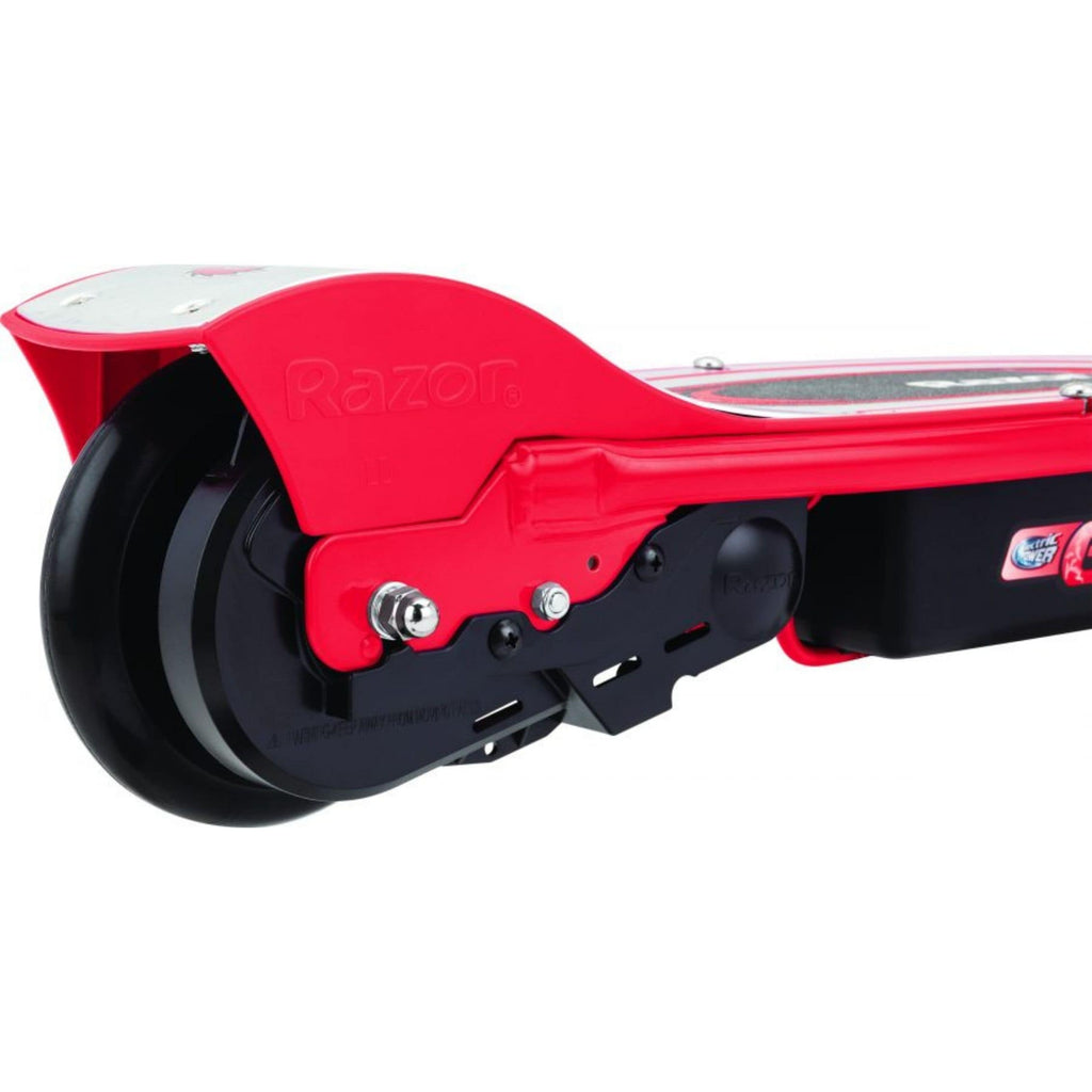 Razor E100 Electric Scooter red rear wheel view