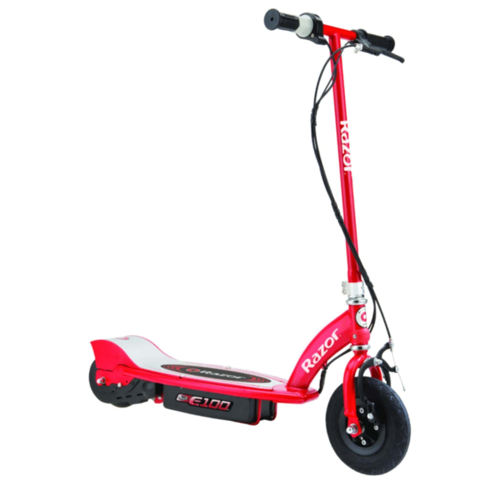 Razor E100 Electric Scooter red side view