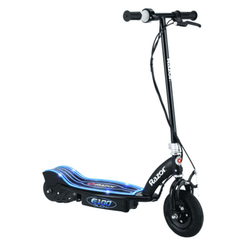 Image of Razor E100 Glow Electric Scooter blue side view