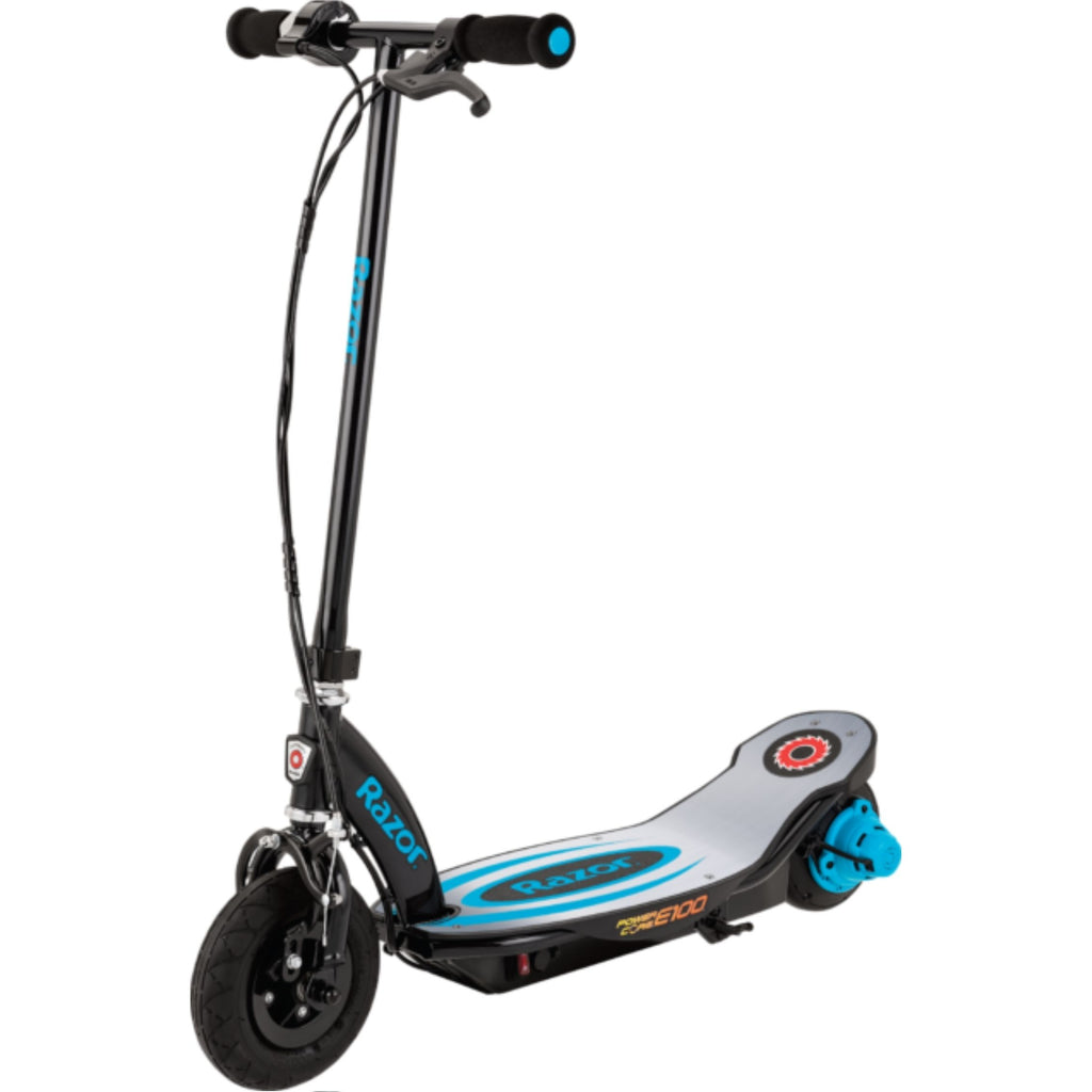 Razor E100 Power Core Aluminum Deck Electric Scooter blue side