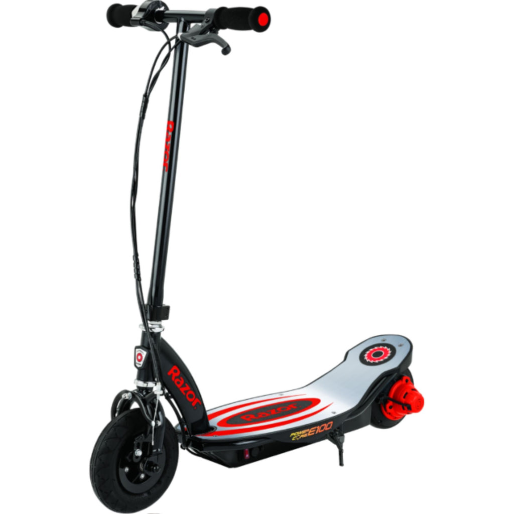 Razor E100 Power Core Aluminum Deck Electric Scooter red side