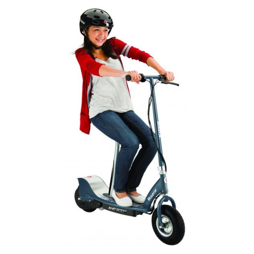 Razor E300S Seated Electric Scooter girl riding