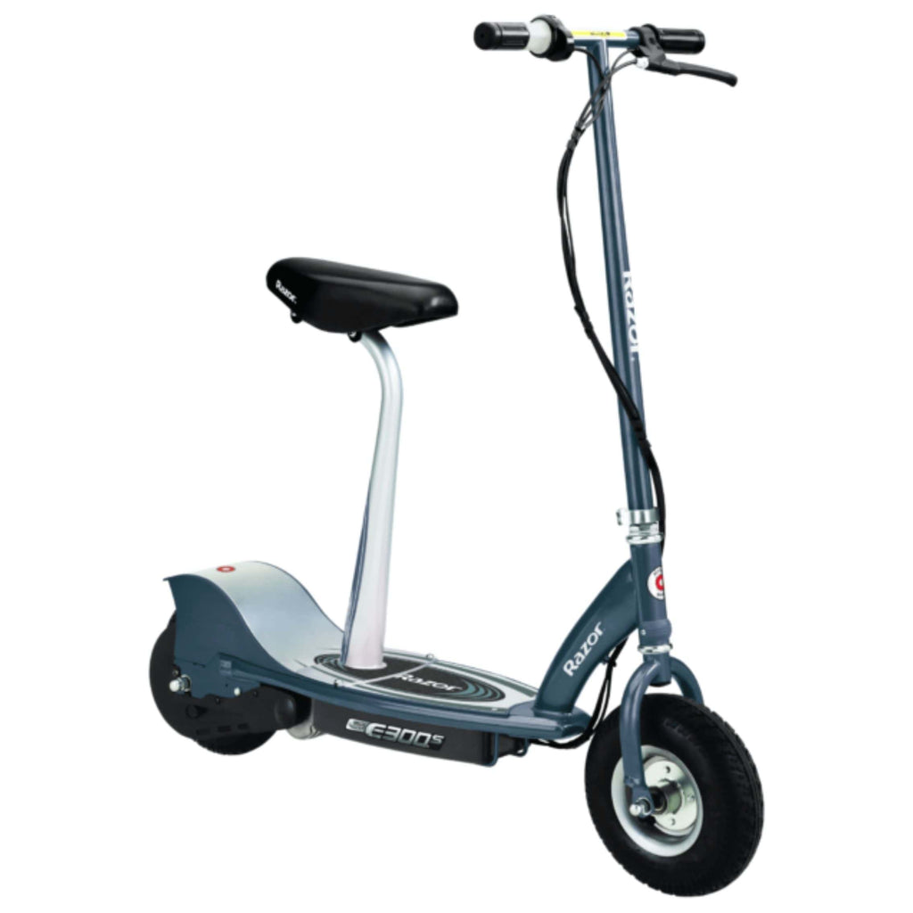 Razor E300S Seated Electric Scooter blue side view