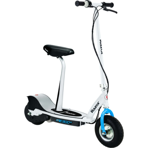 Image of Razor E300S Seated Electric Scooter white side view