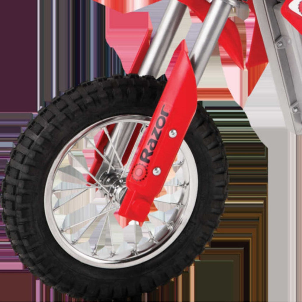 Razor MX400 Dirt Rocket red front wheel close up