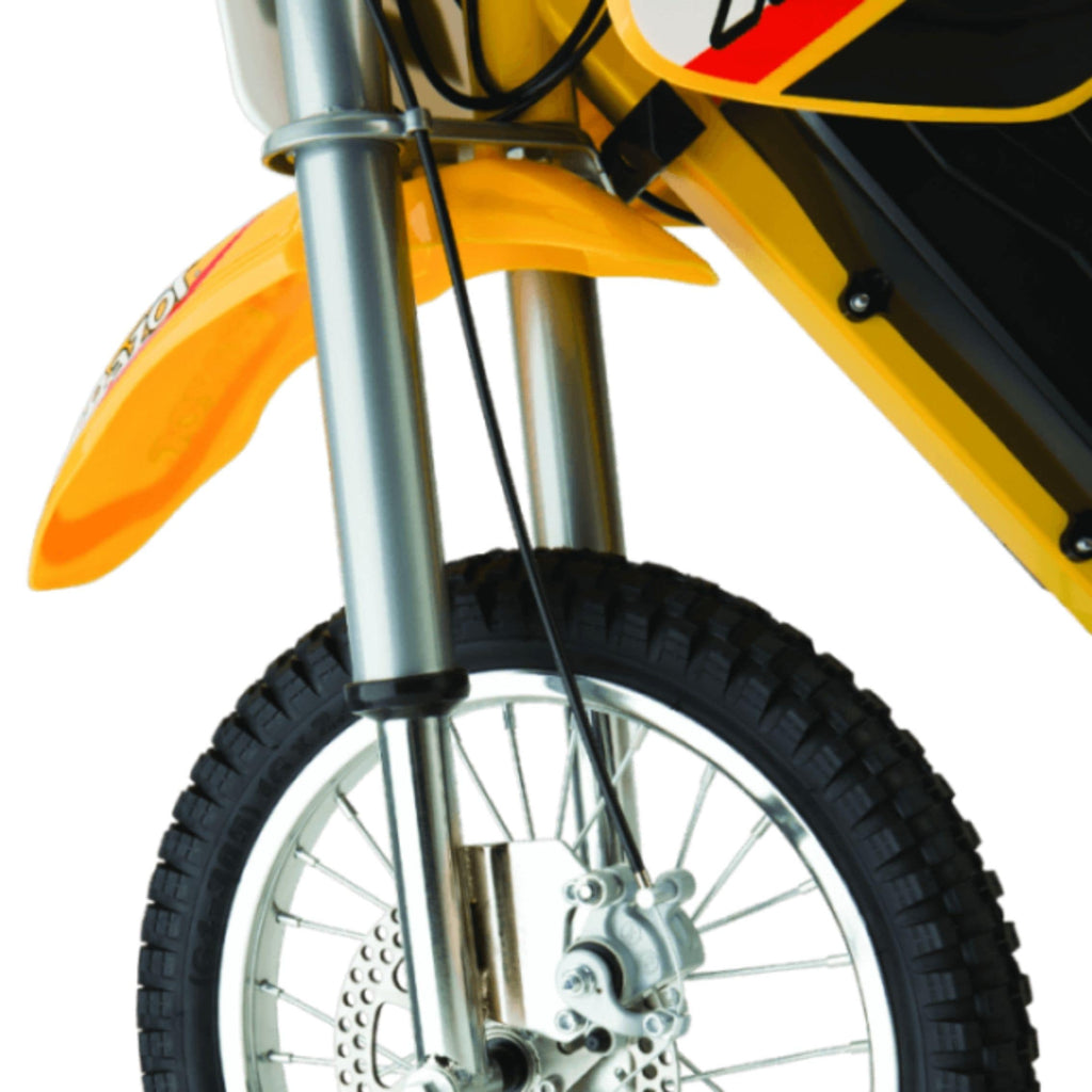 Razor MX650 Dirt Rocket front wheel close up