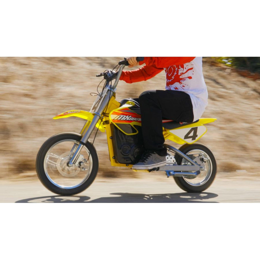 Razor MX650 Dirt Rocket yellow action shot