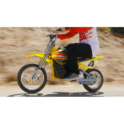 Image of Razor MX650 Dirt Rocket yellow action shot