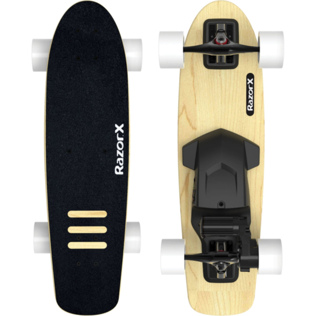 Razor X Cruiser Electric Skateboard front and rear view