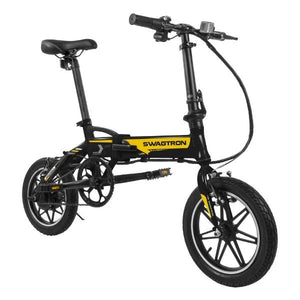 Swagtron EB5 Pro Plus Folding Electric Bike black front angle