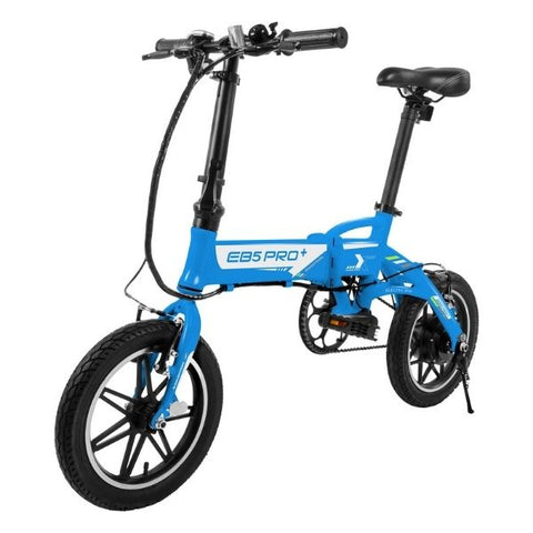 Swagtron EB5 Pro Plus Folding Electric Bike blue front angle