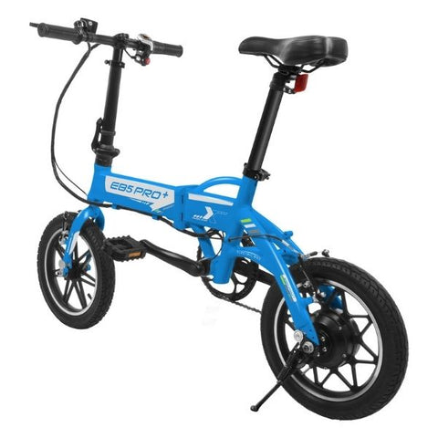 Swagtron EB5 Pro Plus Folding Electric Bike blue rear left