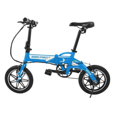 Swagtron EB5 Pro Plus Folding Electric Bike blue side view