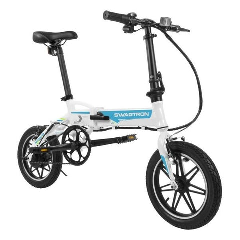 Swagtron EB5 Pro Plus Folding Electric Bike white front angle