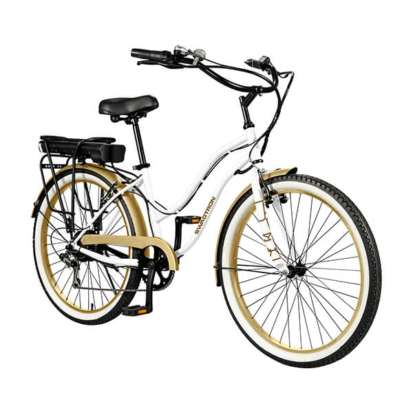 Swagtron EB10 Step Through Cruiser Electric Bike Front Side View